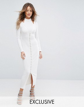 photo Ribbed Midi Dress with Hook & Eye Detail by Lavish Alice, color Cream - Image 1