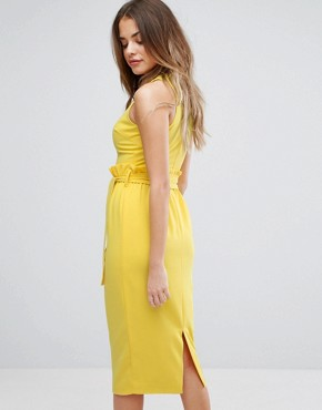 photo Midi Dress with Paper Bag Waist Detail by Lavish Alice, color Yellow - Image 2