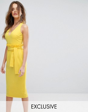 photo Midi Dress with Paper Bag Waist Detail by Lavish Alice, color Yellow - Image 1