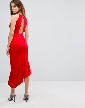photo Satin Waterfall Hem Midi Dress by Lavish Alice, color Red - Image 2