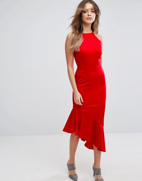 photo Satin Waterfall Hem Midi Dress by Lavish Alice, color Red - Image 1
