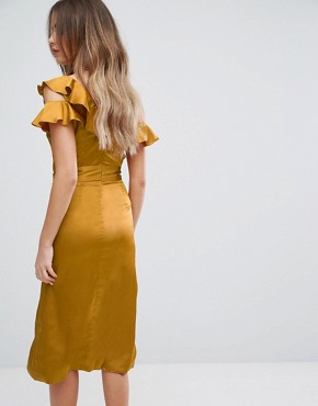 photo Gold Satin Asymmetric Frill Midi Dress by Lavish Alice, color Gold - Image 2