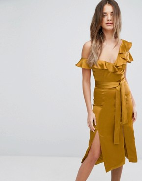 photo Gold Satin Asymmetric Frill Midi Dress by Lavish Alice, color Gold - Image 1