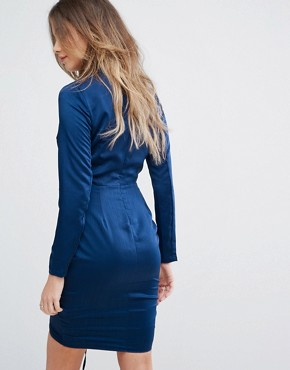 photo Ruched Front Mini Dress with Long Sleeves by Lavish Alice, color Navy - Image 2