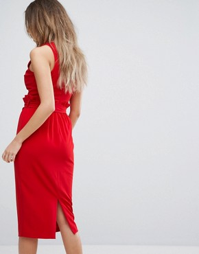 photo Midi Dress with Paper Bag Waist Detail by Lavish Alice, color Red - Image 2
