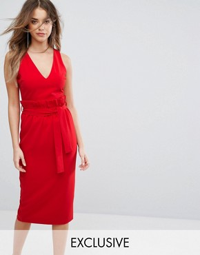 photo Midi Dress with Paper Bag Waist Detail by Lavish Alice, color Red - Image 1