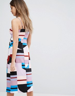 photo Multi Abstract Print Cami Dress with Thigh Split by Lavish Alice, color Abstract Print - Image 2
