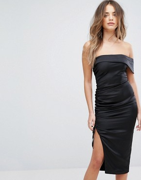 photo Satin Ruched Bandeau Midi Dress by Lavish Alice, color Black - Image 1