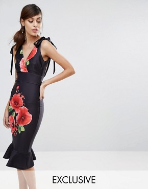 photo Midi Pencil Dress with Flueted Hem and Poppy Print by True Violet, color Poppy Print - Image 1
