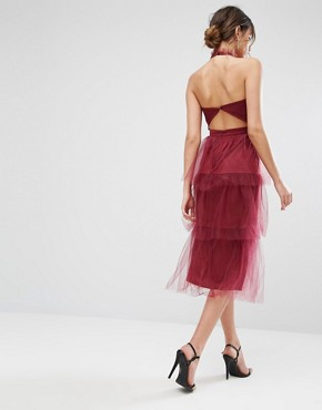 photo Tiered Longer Length Midi Dress in Tulle by True Violet, color Wine - Image 2
