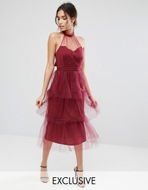 photo Tiered Longer Length Midi Dress in Tulle by True Violet, color Wine - Image 1