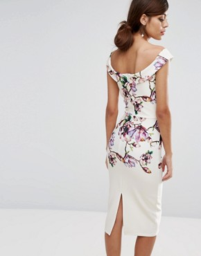 photo Bardot Midi Pencil Dress in Floral Print by True Violet, color Ivory Blossom - Image 2