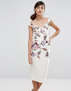 photo Bardot Midi Pencil Dress in Floral Print by True Violet, color Ivory Blossom - Image 1