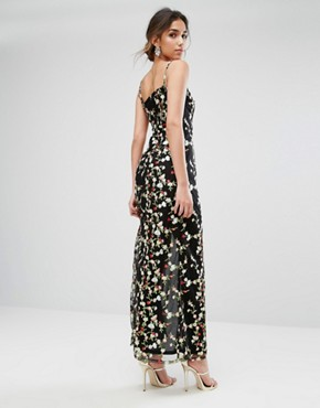 photo Allover Embroided Maxi dress with Split by True Violet, color Black Multi - Image 2