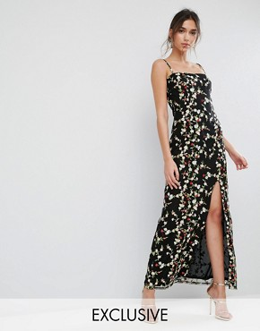 photo Allover Embroided Maxi dress with Split by True Violet, color Black Multi - Image 1