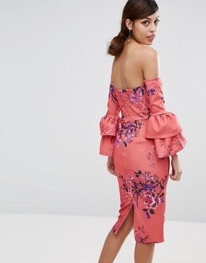 photo Bardot Midi Pencil Dress with Frill Sleeve Detail by True Violet, color Pink Blossom - Image 2