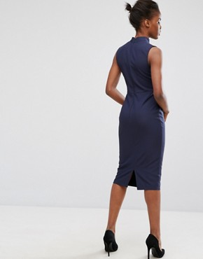 photo Choker Neck Pencil Dress by Alter, color Navy - Image 2
