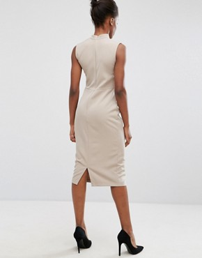 photo Chocker Neck Pencil Dress by Alter, color Natural Taupe - Image 2