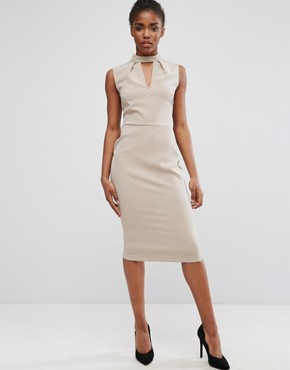 photo Chocker Neck Pencil Dress by Alter, color Natural Taupe - Image 1