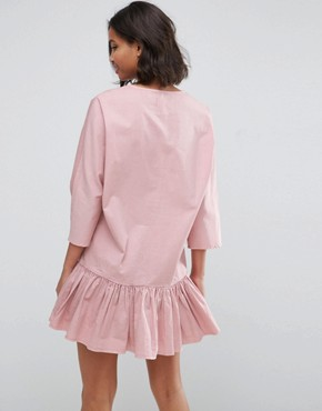 photo Drop Waist Lace Up Casual Dress by ASOS, color Pink - Image 2