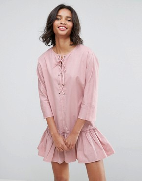 photo Drop Waist Lace Up Casual Dress by ASOS, color Pink - Image 1