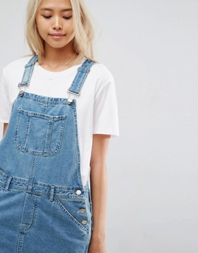 photo Denim Dungaree Dress in Midwash Blue by ASOS, color Mid Wash Blue - Image 3