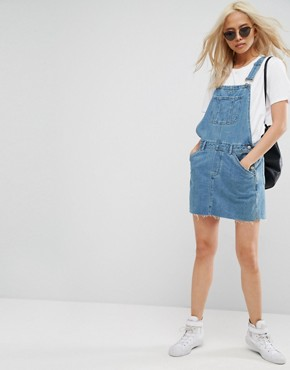 photo Denim Dungaree Dress in Midwash Blue by ASOS, color Mid Wash Blue - Image 4