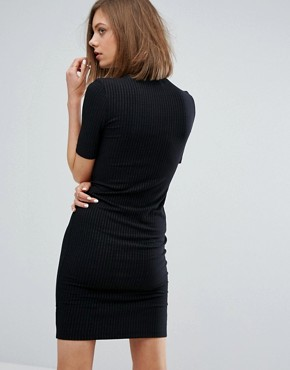 photo Bodycon Dress with High Neck in Rib by Moss Copenhagen, color Black - Image 2