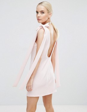 photo Rib Bow Mini Shift Dress by ASOS PETITE, color Nude - Image 2