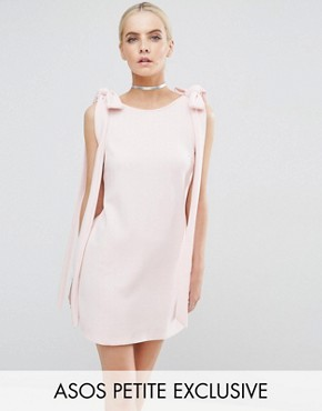 photo Rib Bow Mini Shift Dress by ASOS PETITE, color Nude - Image 1