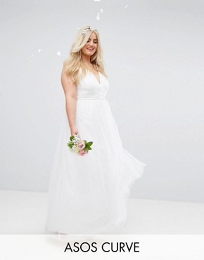 photo Tulle Maxi Prom Dress by ASOS CURVE BRIDAL, color White - Image 1