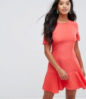 photo Lace Up Back Tea Dress by ASOS PETITE, color Red - Image 2