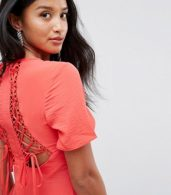 photo Lace Up Back Tea Dress by ASOS PETITE, color Red - Image 3
