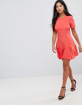 photo Lace Up Back Tea Dress by ASOS PETITE, color Red - Image 4