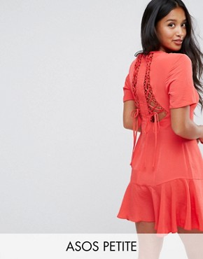 photo Lace Up Back Tea Dress by ASOS PETITE, color Red - Image 1