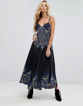 photo Be My Baby Printed Maxi Dress by Free People, color Black Combo - Image 1