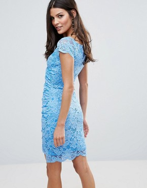 photo Wrap Front Coloured Lace Dress by Jessica Wright, color Blue - Image 2