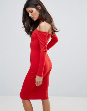 photo Long Sleeve Choker Neck Midi Dress by Jessica Wright, color Red - Image 2