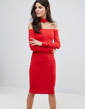 photo Long Sleeve Choker Neck Midi Dress by Jessica Wright, color Red - Image 1