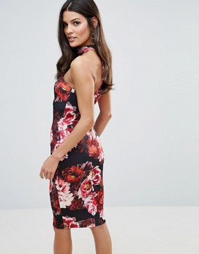 photo Rose Print Bandeau Midi Dress by Jessica Wright, color Multi - Image 2