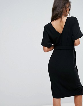 photo Smart Woven Midi Dress with D-Ring by ASOS TALL, color Black - Image 2