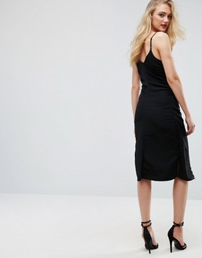 photo Hook & Eye Detail Slip Midi Dress by ASOS TALL, color Black - Image 2