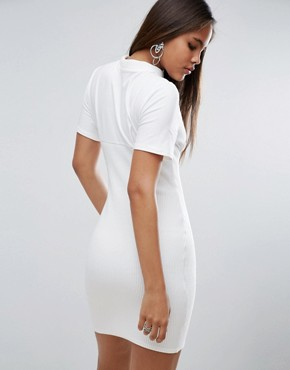 photo Ribbed Mini Corset Dress with Wired Cups by ASOS TALL, color White - Image 2