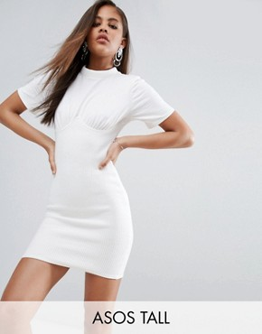 photo Ribbed Mini Corset Dress with Wired Cups by ASOS TALL, color White - Image 1