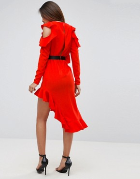 photo Cold Shoulder Crepe Asymmetric Dress by ASOS TALL, color Red - Image 2