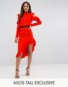 photo Cold Shoulder Crepe Asymmetric Dress by ASOS TALL, color Red - Image 1