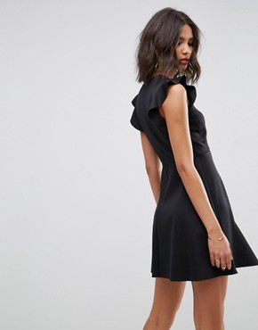 photo Mini Scuba Jersey Skater Dress with Frill Shoulder Detail by ASOS, color Black - Image 2