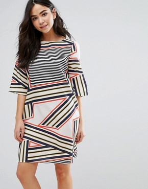 photo Elsa Stripe Print Shift Dress by Orion, color Abstract Stripe - Image 1