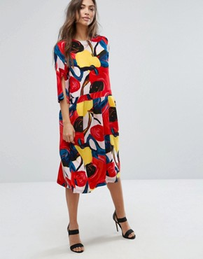 photo Connie Floral Dress with Pleated Skirt by Orion, color Bold Floral Print - Image 1