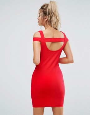 photo Mini Strappy Bodycon Dress with Shoulder Detail in Rib by ASOS, color Red - Image 2